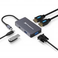 Docking Station Portable Hub USB Tipo C Phoenix 5 en 1 2 HDMI 4K VGA 1 USB 3.0 Lector de Tarjetas PD Hasta 100W Válido para Portatiles y Tablets Tipo C