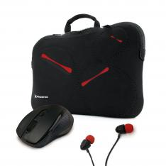 KIT FUNDA SLEEVE PHSTOCKHOLM15RED + MINI MOUSE PHR516B + AURICULARES BOTON PHURBANH90+