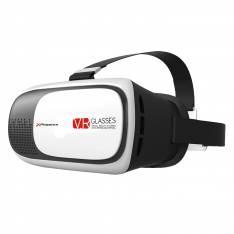 """GAFAS 3D VR DE REALIDAD VIRTUAL UNIVERSALES PHOENIX / LENTES DE RESINA OPTICA / VALIDO PARA TELEFONO SMARTPHONE HASTA 6""""/ CINTA ELASTICA AJUSTABLE PARA SUJECCION / DISTANCIA FOCAL REGULABLE BLANCO"""