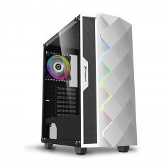 CAJA GAMING TORRE PHOENIX WHITE DIAMOND / CRISTAL TEMPLADO / TIRA ARGB / USB 3.0 / FILTROS ANTIPOLVO / INCLUYE VENTILADOR ARGB / BLANCA