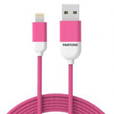 CABLE NYLON PANTONE LIGHTNING A USB 1.5M ROSA