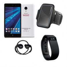 TELEFONO MOVIL SMARTPHONE WOO CASIOPEA 3 BLANCO 5 + PULSERA DE ACTIVIDAD +  BRAZALETE IMPERMEABLE + AURICULARES DEPORTIVOS