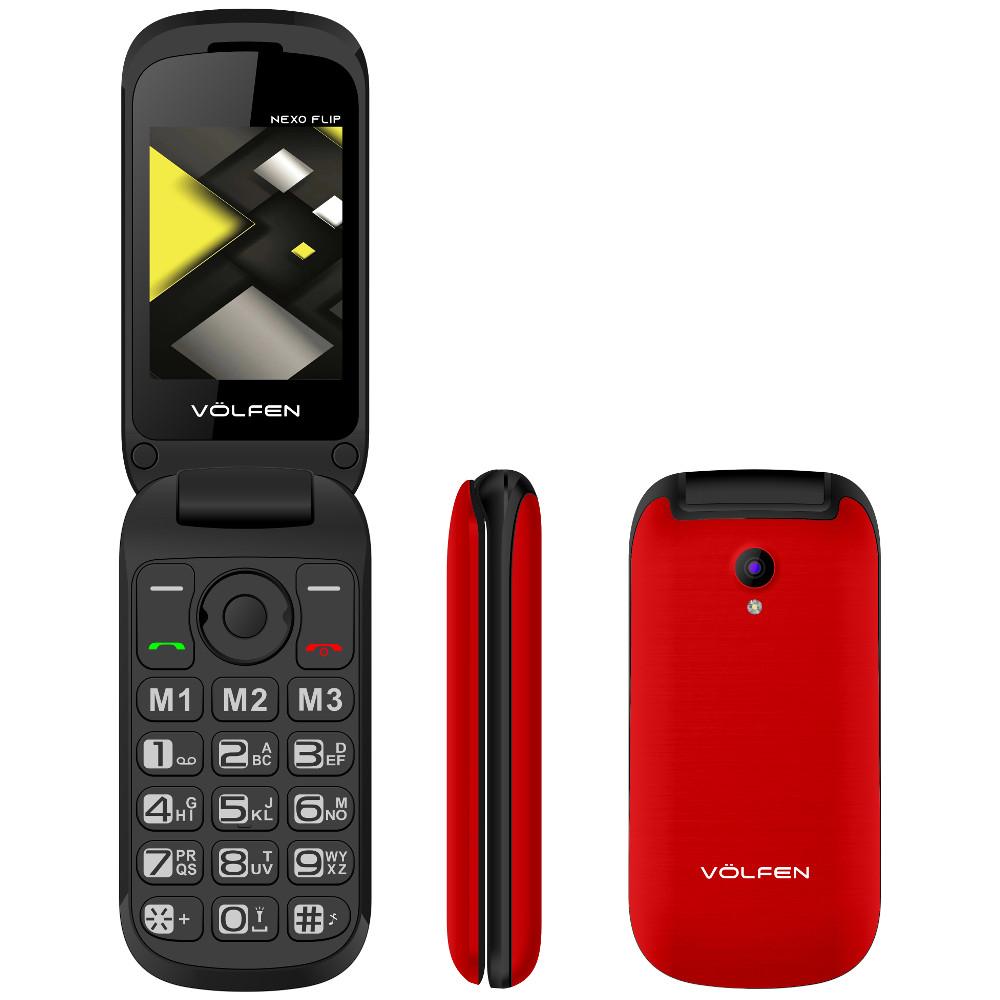 TELEFONO MOVIL VOLFEN FLIP ROJO / TIPO CONCHA/ 3 MEMORIAS DIRECTAS / PANTALLA 2.4 /  DUAL SIM / MICRO SD / CAMARA / BATERIA LARGA DURACION