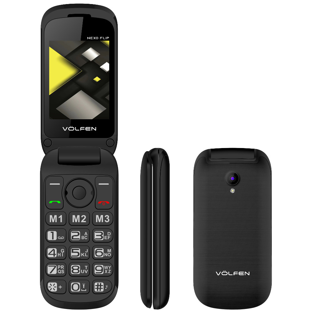 TELEFONO MOVIL VOLFEN FLIP NEGRO / TIPO CONCHA/ 3 MEMORIAS DIRECTAS / PANTALLA 2.4 /  DUAL SIM  /MICRO SD / CAMARA / BATERIA LARGA DURACION