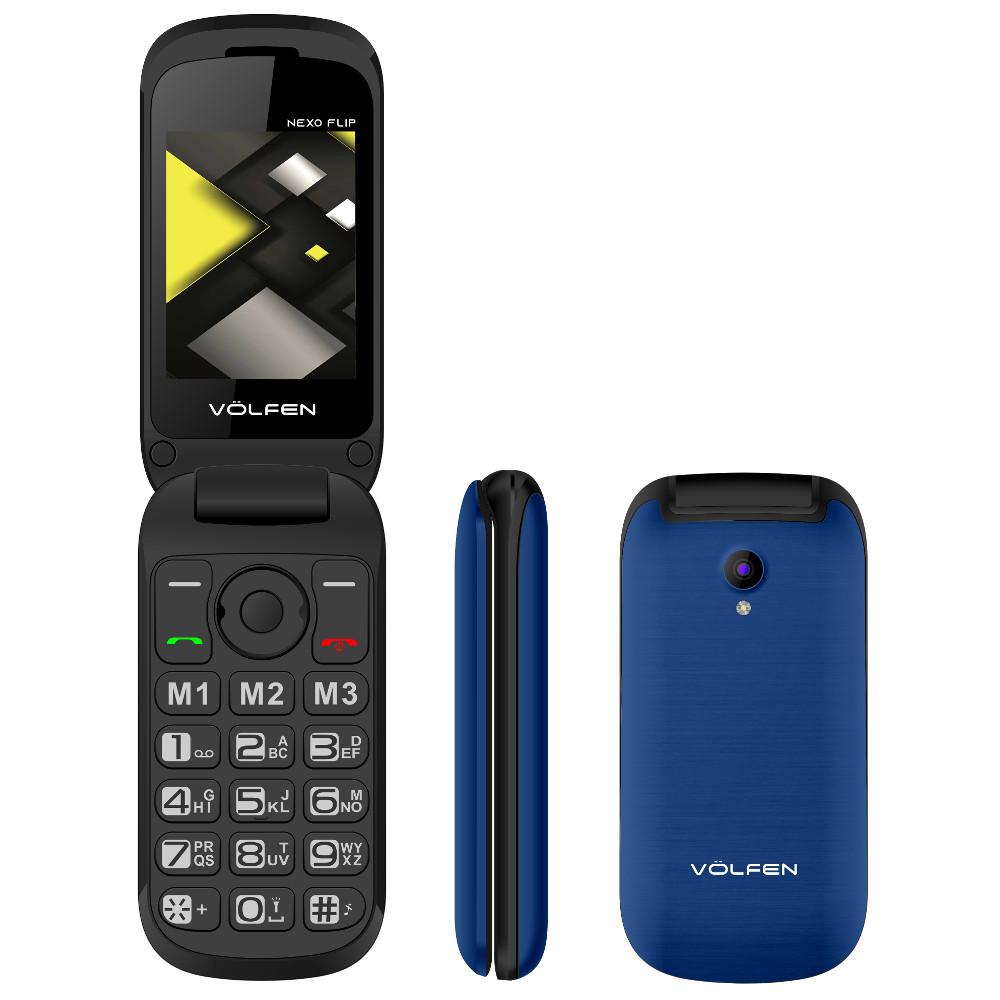 TELEFONO MOVIL VOLFEN FLIP AZUL / TIPO CONCHA/ 3 MEMORIAS DIRECTAS / PANTALLA 2.4 / DUAL SIM / MICRO SD / CAMARA / BATERIA LARGA DURACION