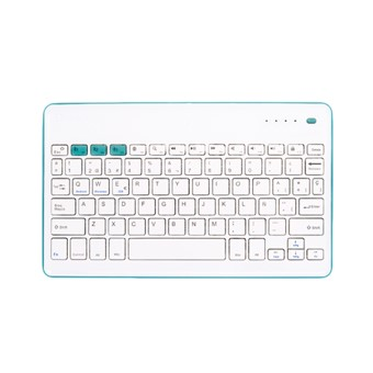 TECLADO BLUETOOTH SILVER HT 19366 WHITE+BLUE - BT 3.0+EDR - BASE GOMA ANTIDESLIZANTE - PLUG AND PLAY
