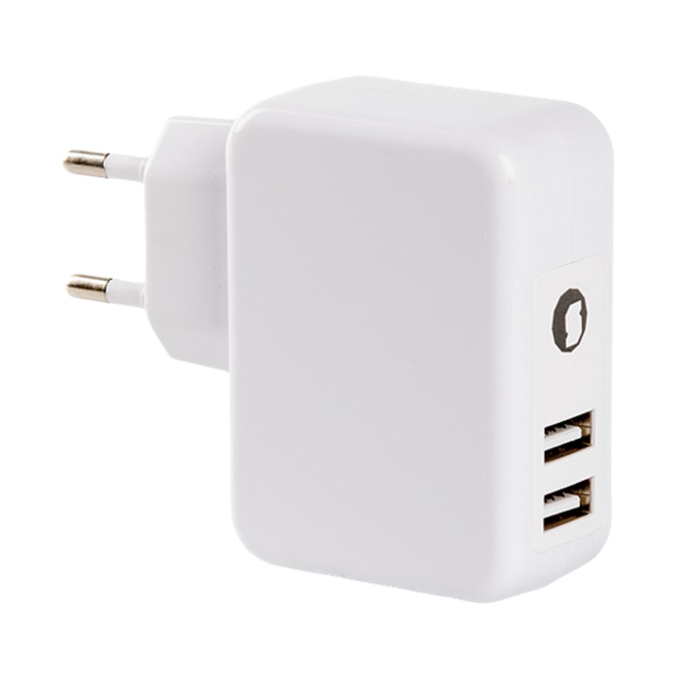 CARGADOR UNIVERSAL SILVER HT 4.8A DOBLE USB BLANCO