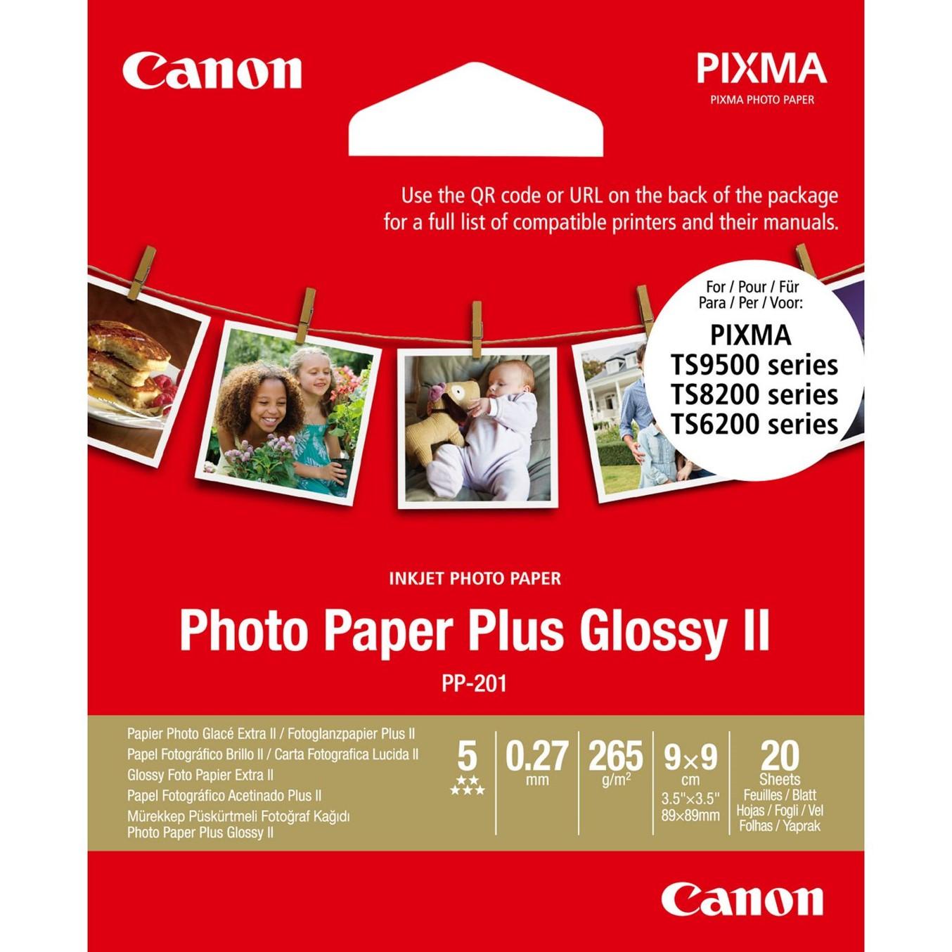 Canon Photo Paper Plus Glossy II PP-201 - papel fotográfico brillante - 20 hoja(s) - 89 x 89 mm - 265 g/m²