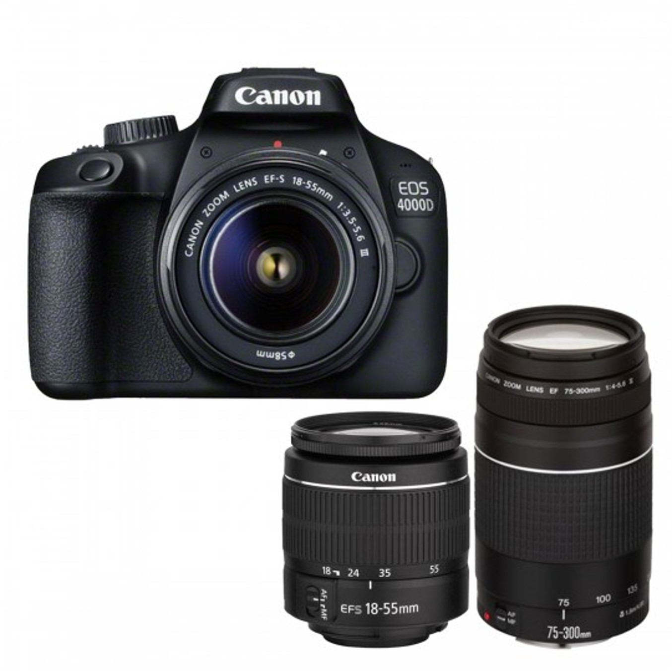 Camara digital reflex canon eos 4000d 18-55 dc + 7