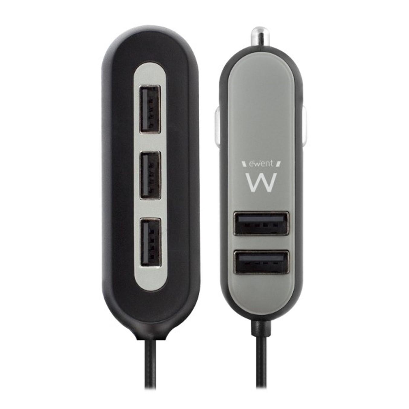 CARGADOR USB EWENT PARA COCHE   5 PUERTOS   54W