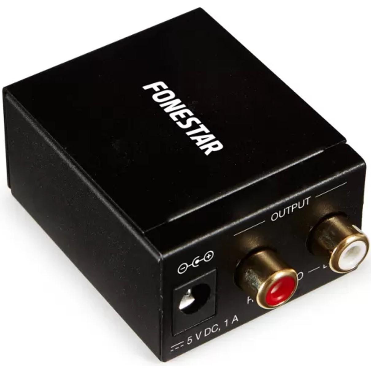 CONVERTIDOR DE AUDIO FONESTAR FO-37DA - CONVIERTE AUDIO DIGITAL EN ANALGICO - ENTRADA PTICA SPDIF / COAXIAL SPDIF - SALIDA AUDIO ESTREO - 2X RCA