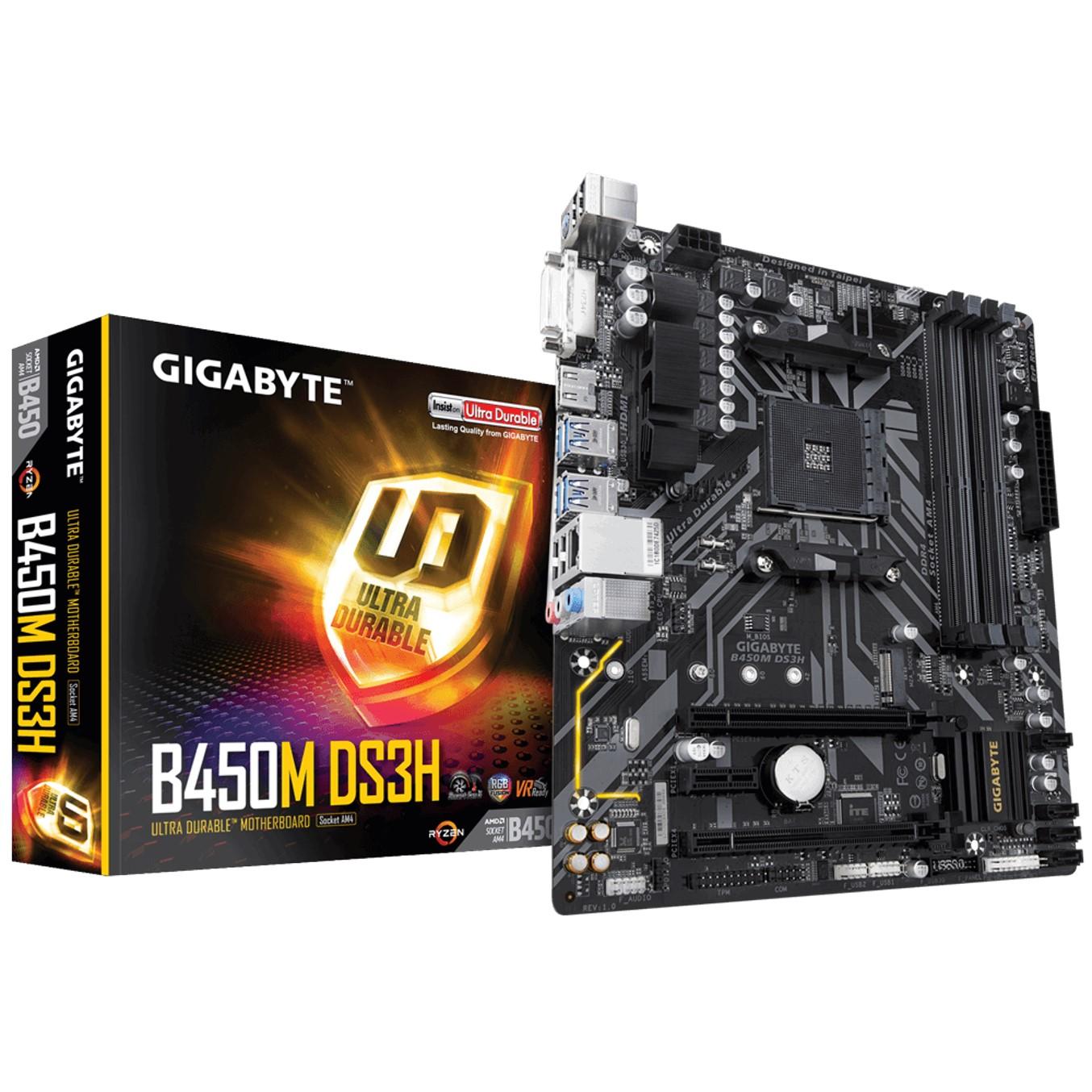 PLACA BASE GIGABYTE AMD B450M DS3H DDR4X4 64GB DVI-D