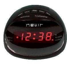 Radio reloj despertador nevir nvr - 333 negro digital alarma dual