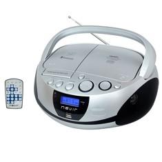 Radio cd mp3 portatil nevir nvr - 480ub plata - bluetooth