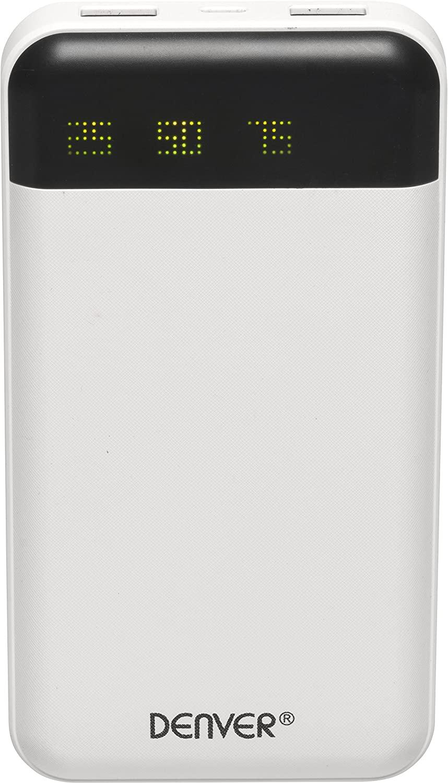 Bateria externa portatil denver pba - 12000 powerbank 12000mah blanco -   2xusb -  led indicador de carga
