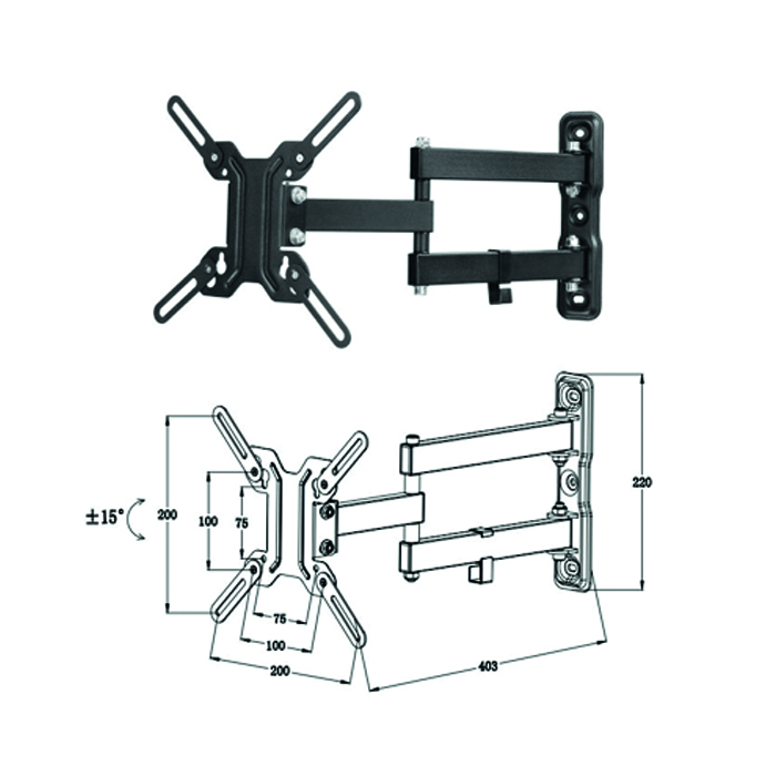 Soporte articulado de pared para tv/monitor rotaci