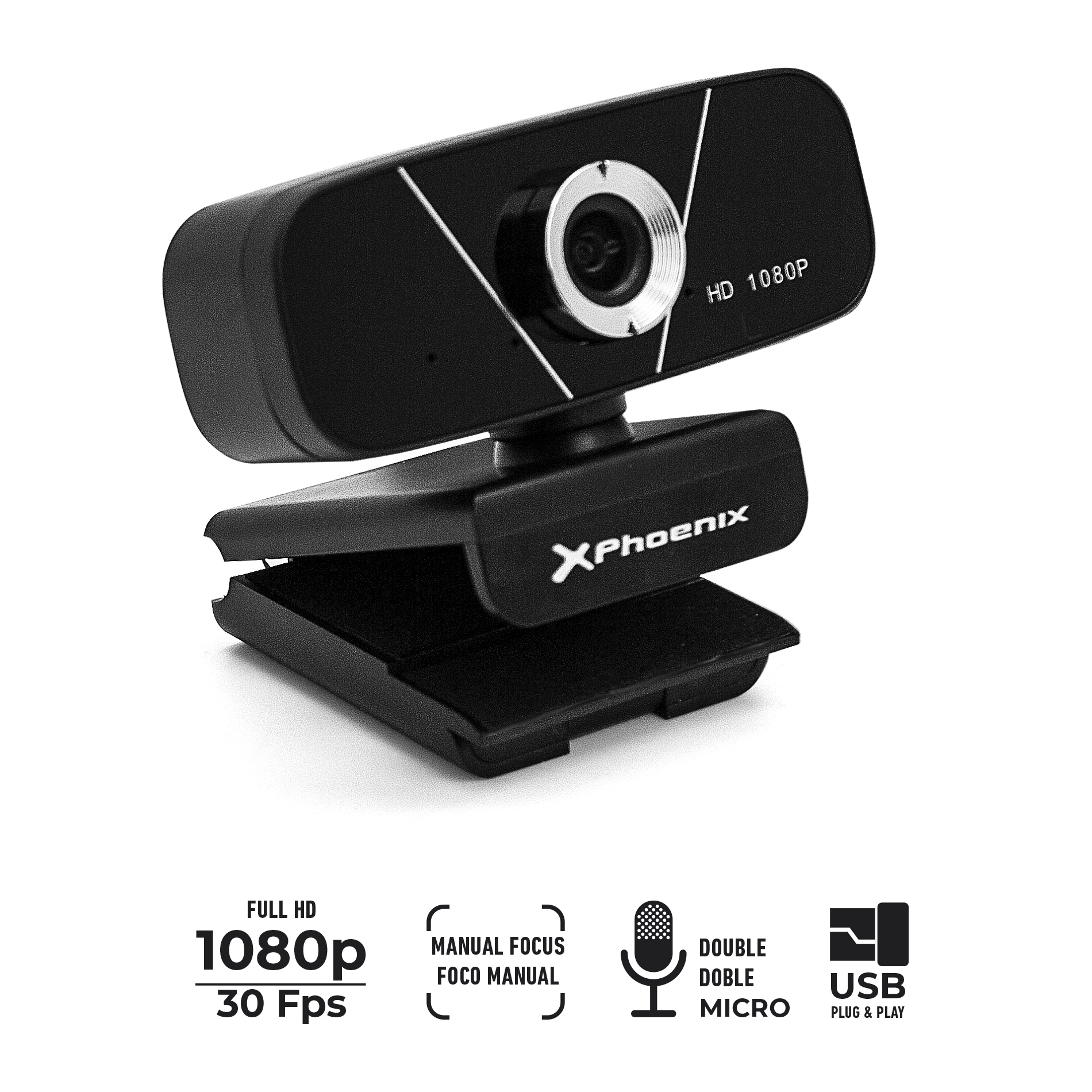 WEBCAM CAMARA WEB USB PHOENIX GOLIVE FULL HD 1920X1080 30FPS ENFOQUE MANUAL ROTATIVA 360º DOBLE MICROFONO BASE LISTA PARA TRIPODE