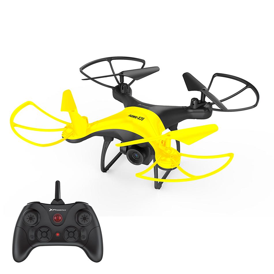 Dron hawk-x35 phoenix / 6 ejes / radio control / control via movil / estabilizador altura hovering / camara 360p  wifi fpv / sin cabeza / auto despegue y aterrizaje / luces led / 3 velocidades / negro