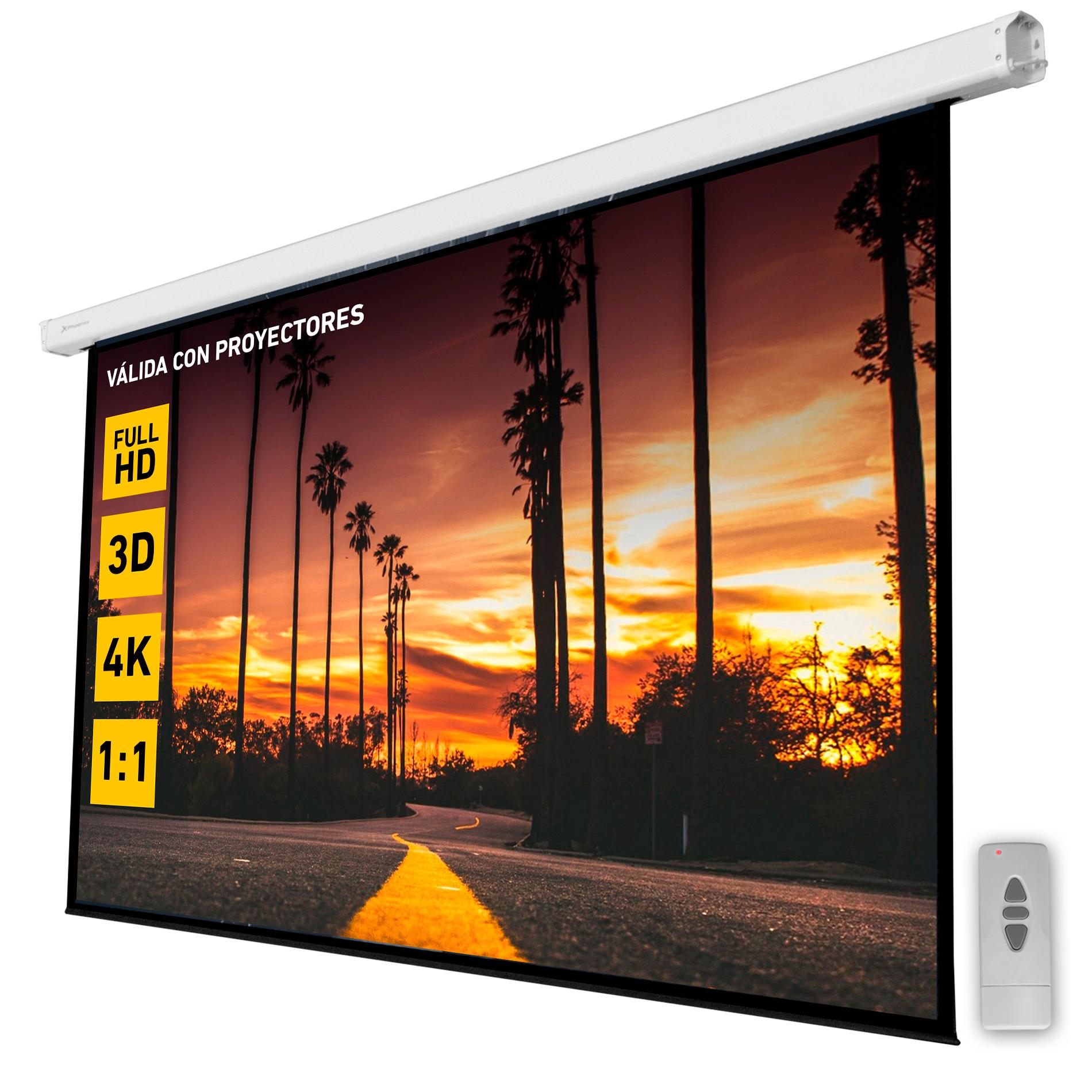 Pantalla electrica videoproyector pared y techo phoenix 135´´ratio 1:1 - 4:3 - 16:9 2.4m x 2.4m posicion adjustable - carcasa blanca - tela super resi