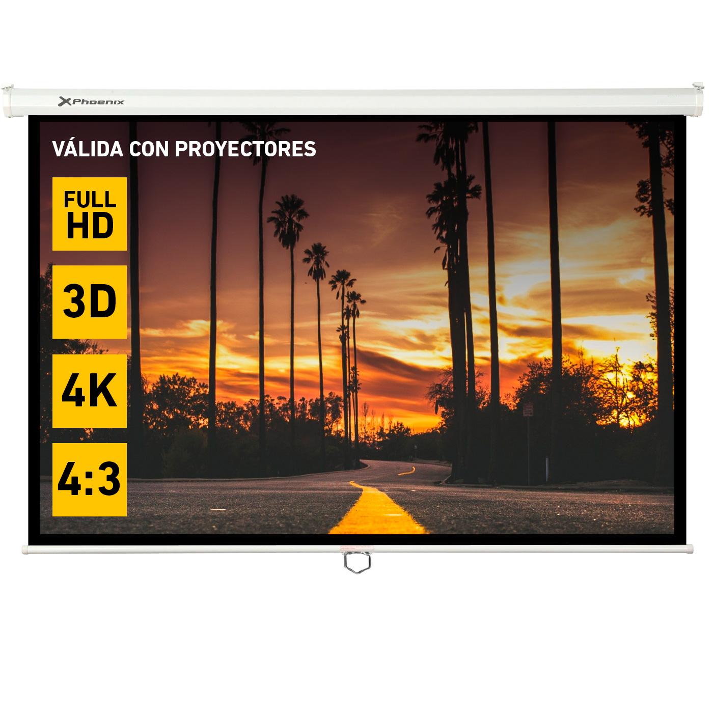 Pantalla manual videoproyector pared y techo phoen