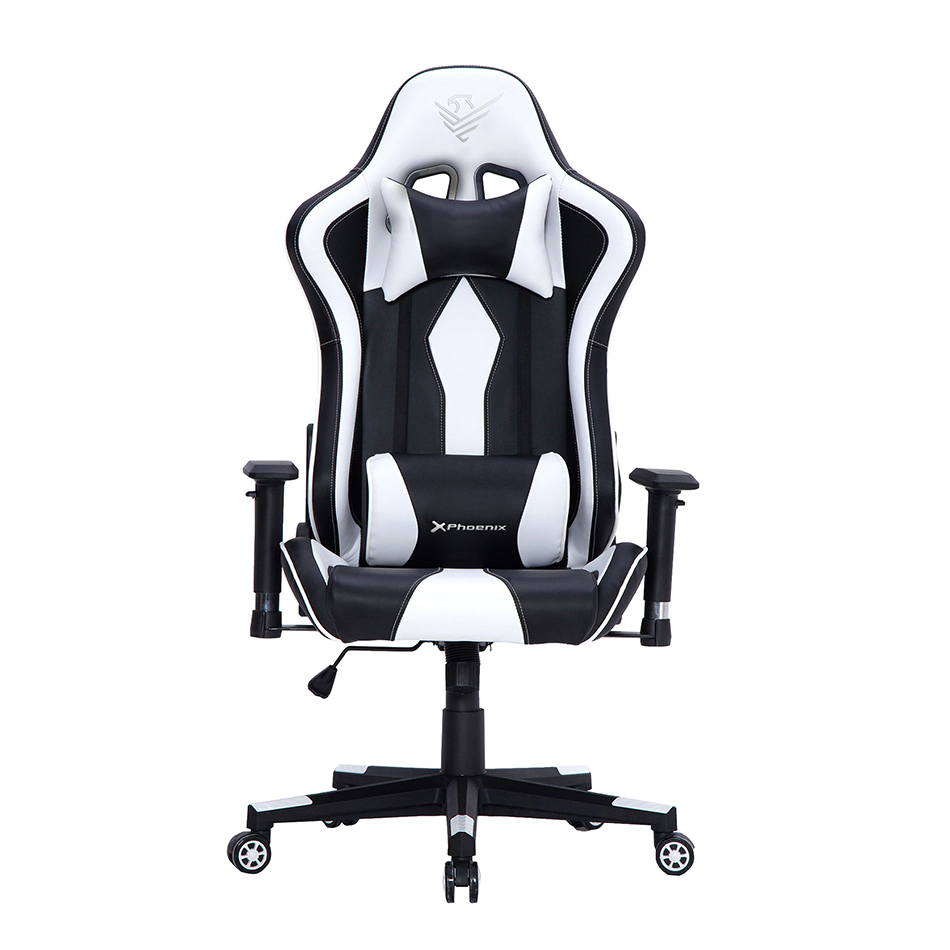 SILLA GAMING PHOENIX TOURNAMENT AJUSTABLE ALTURA Y BLOQUEO / REPOSABRAZOS REGULABLES Y ANTIDESLIZAMIENTO / COJIN LUMBAR Y CERVICAL / RESPALDO  ADJUSTABLE 15º / GIRO 360º RUEDAS NYLON  / BLANCA