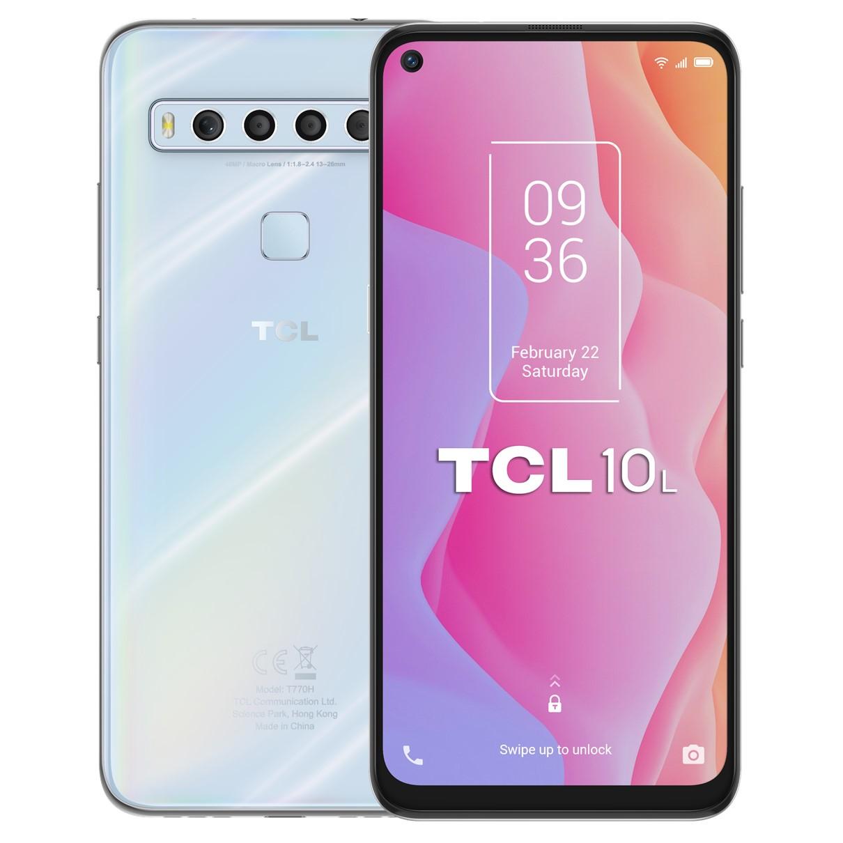 """TELEFONO MOVIL SMARTPHONE TCL 10L WHITE / 6.53"""" / 64GB ROM / 6GB RAM / 48+8+2+2MPX - 16MPX / OCTA CORE / 4G / DUAL SIM / HUELLA"""